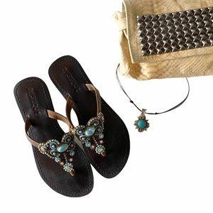 Mystique ꕥ Intricate Bead Flat Sandal ꕥ Turquoise